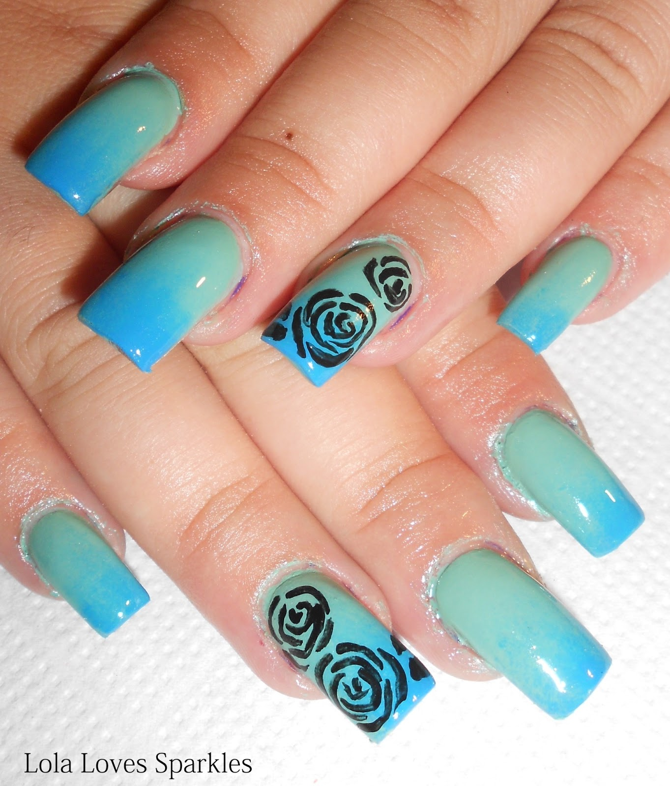 Lola Loves Sparkles: Ombre Gradient Nail Art with Roses [Step-by ...