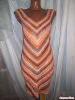 Платье вязанное крючком по диагонали