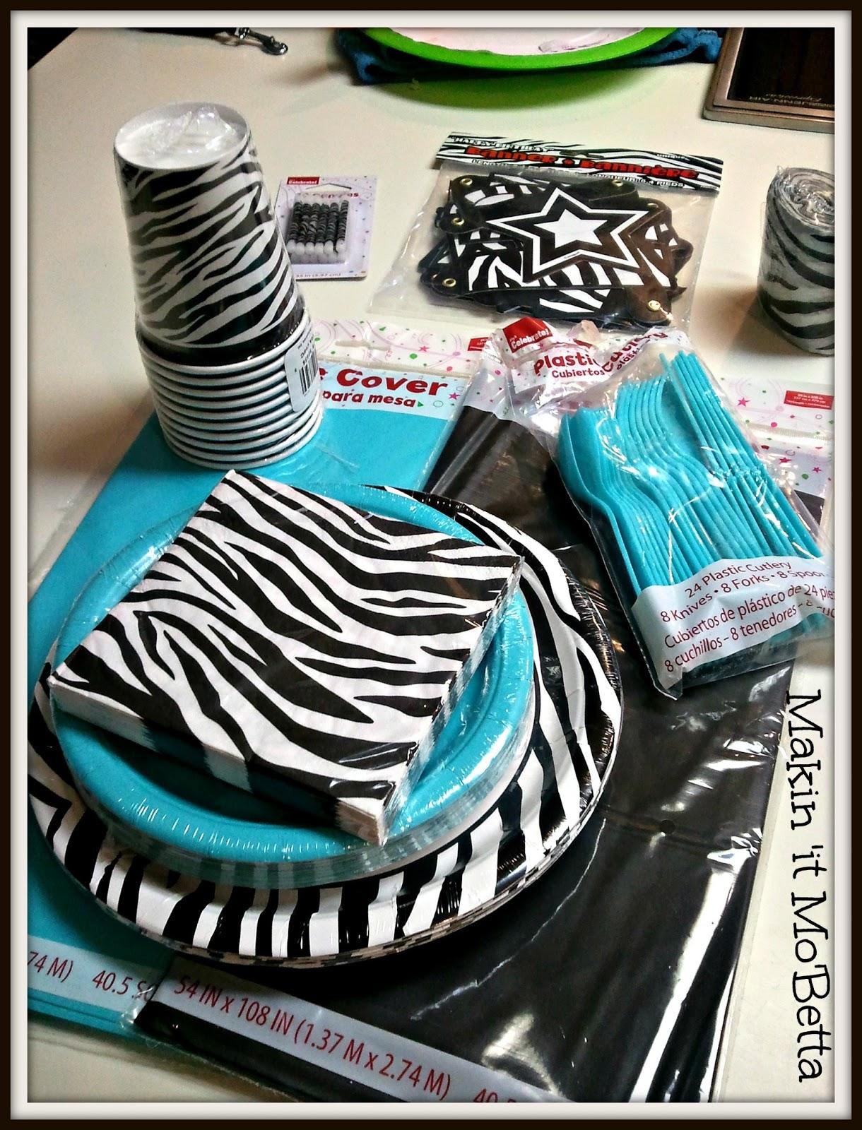 Blue Zebra Birthday Party Theme Image Inspiration of Cake and