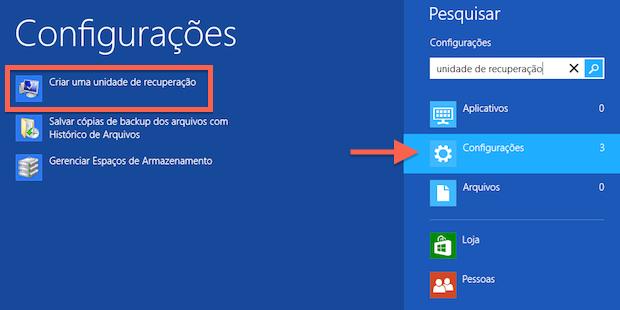Criando um disco de recuperação no Windows 8  (boot)