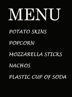 snacks listed on menu board