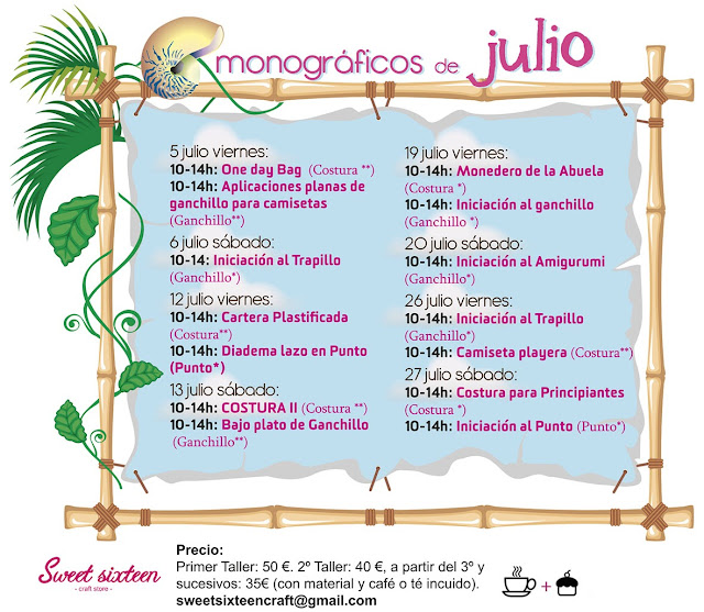 MONOGRaFICOS DE JULIO!!! Sweet sixteen craft store Madrid