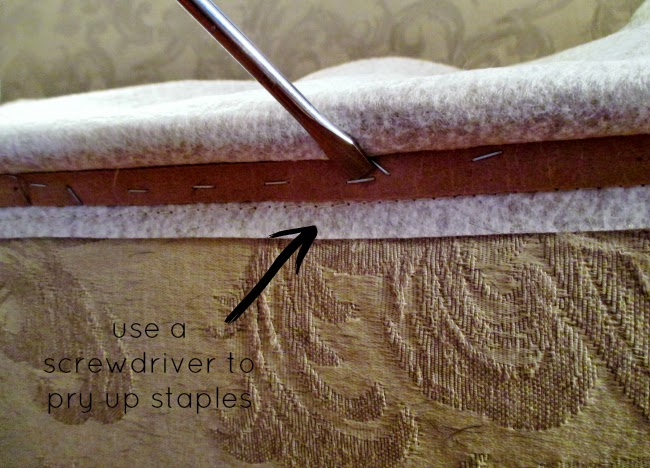 removing staples on couch