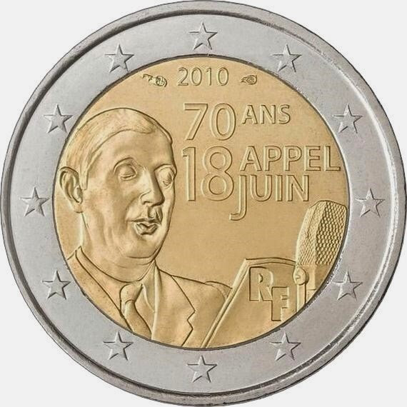 2 Euro Commemorative Coins France 2010 General Charles de Gaulle