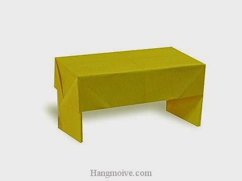 Cách gấp, xếp cái bàn dài bằng giấy origami - Video hướng dẫn xếp hình đồ nội thất - How to fold a Desk