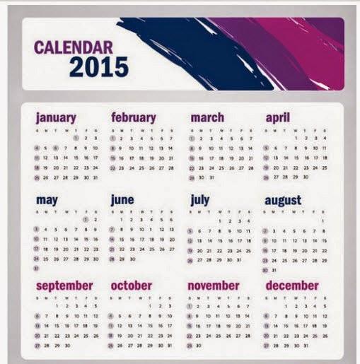 Simple 2015 calendar template