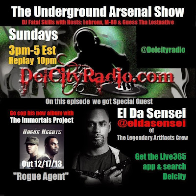 http://www.mixcloud.com/DelCityRadio/the-underground-arsenal-show-with-special-guest-el-da-sensei-of-the-artifacts/