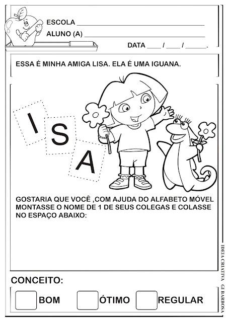 Atividade Dora Aventureira Projeto Identidade