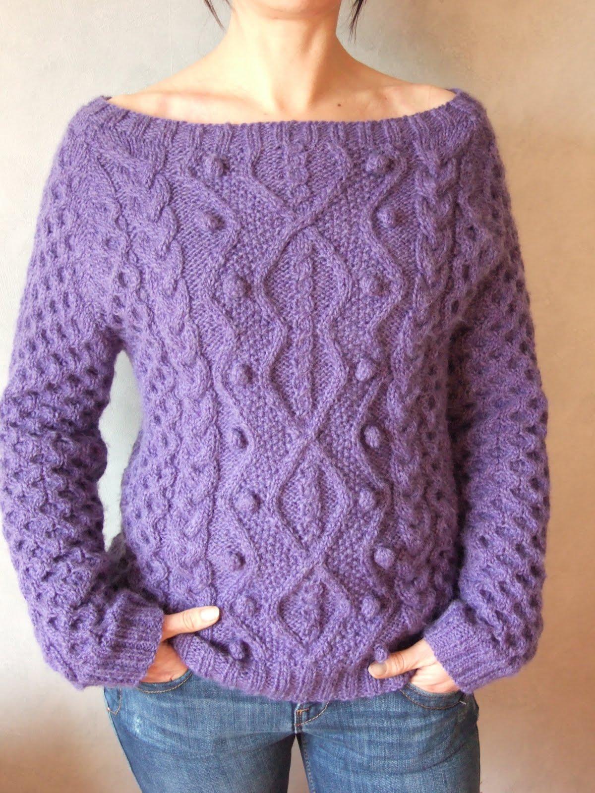 Tricolyne pull irlandais version violet for Bergere de france miroir