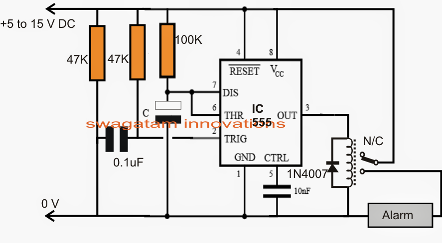 Power ON Alarm with delay off Circuit