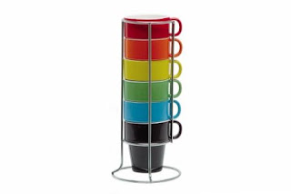 Rainbow stacking coffee cups