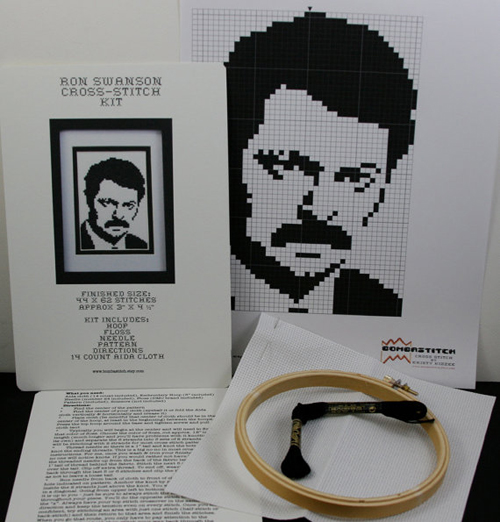 Gift #3 - DIY Ron Swanson Cross Stitch Kit