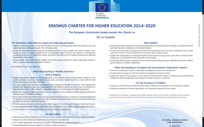 Carta Erasmus de Educación Superior