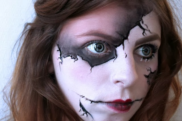 halloween make up, maqillage halloween, louise cerise voodoo doll, broken doll make up, blog beauté