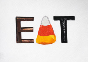 Eat Candy Corn by collage artist Megan Coyle
