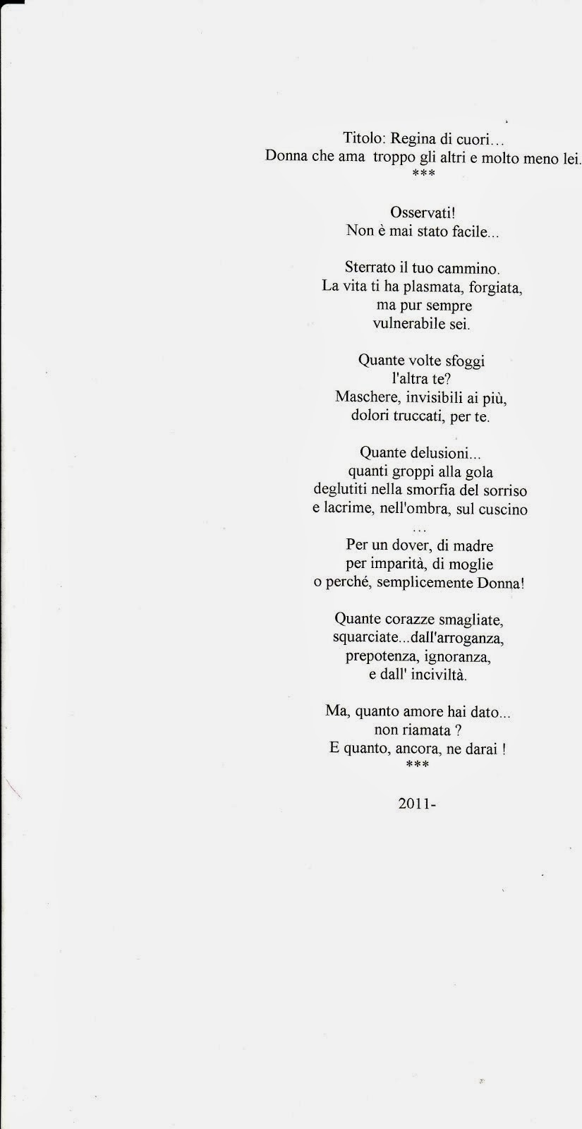 la poesia premiata : REGINA DI CUORI