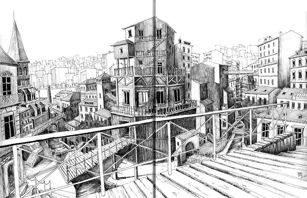 11-Passerelles-et-escaliers-quelque-part-Bruno-Mollière-Architectural-Street-Drawings-and-Sketches-www-designstack-co