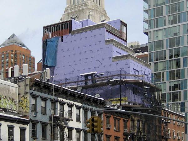 Purple Sheetrock - Next up, polka-dot sheetrock? On 3rd Ave. near 13th St.