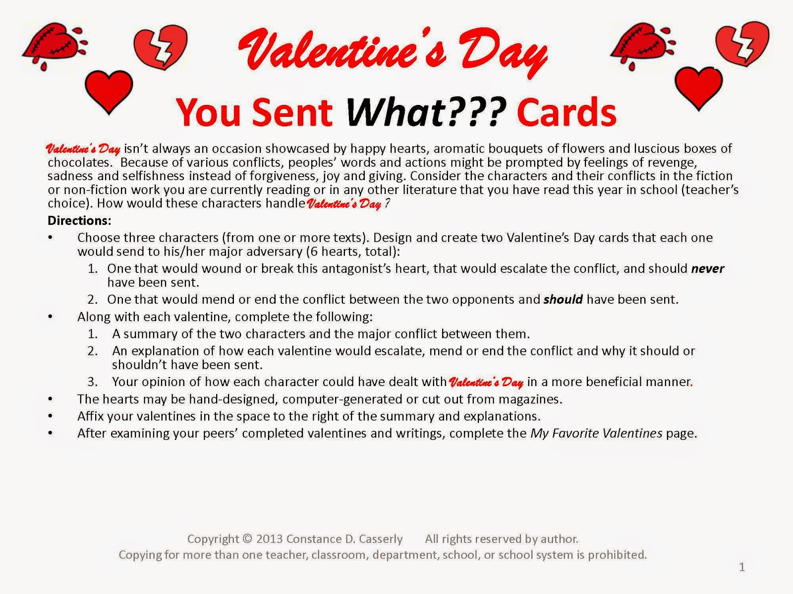 You Sent What Cards- A Valentine's Day Activity