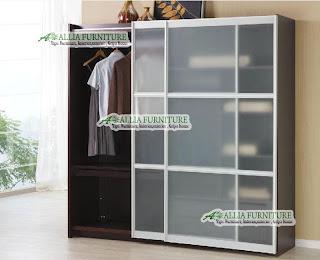 Lemari Minimalis modern kaca pintu geser
