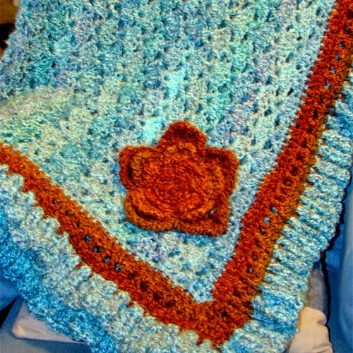Turquoise And Orange Afghan free Pattern