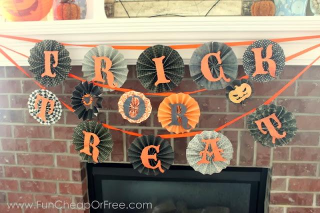 Halloween pinwheel mantel decor, from Fun Cheap or Free