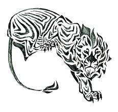 Motif Tato Singa Hitam Putih 9