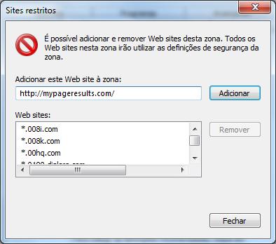 IE Sites restritos