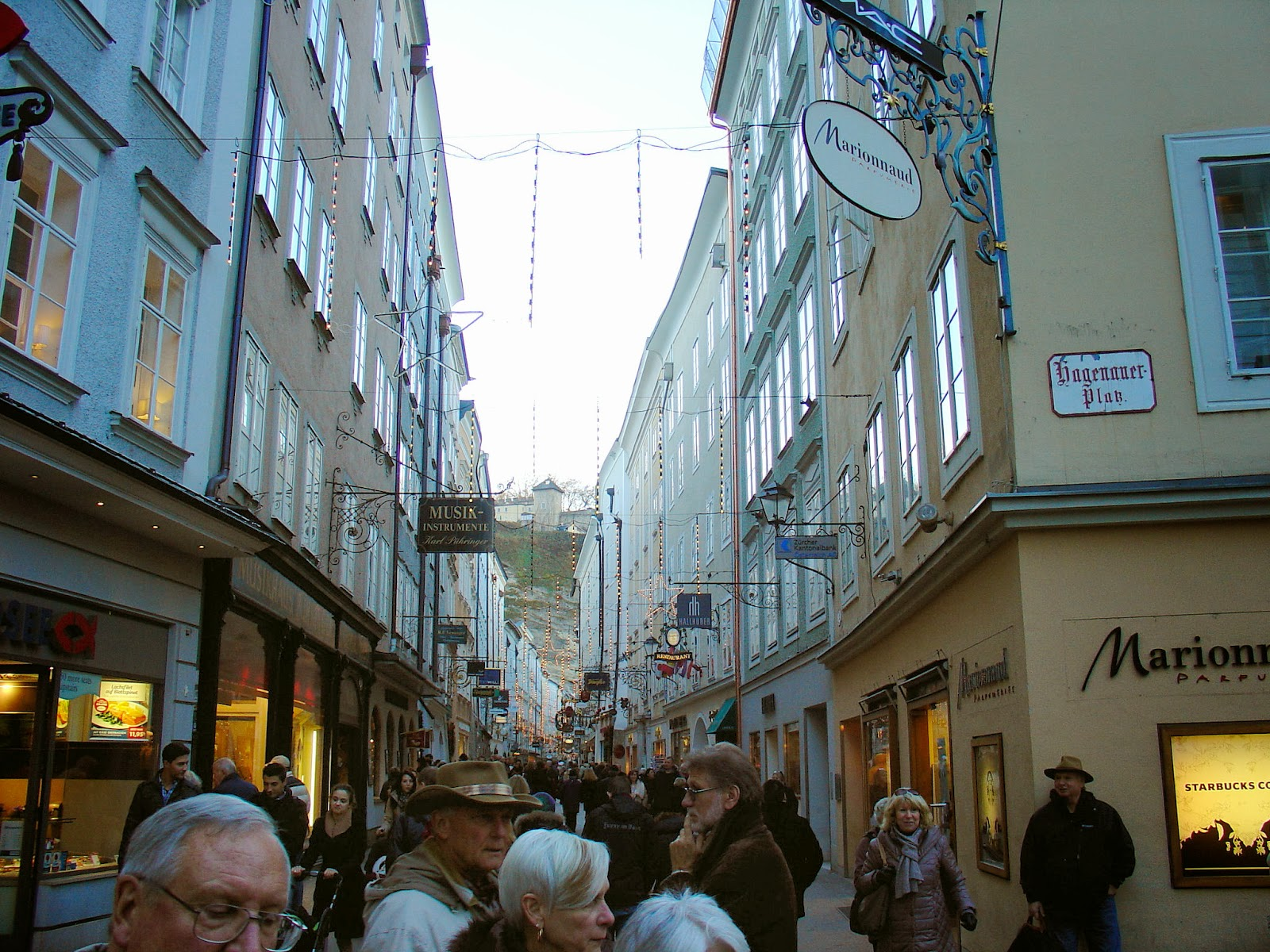 Salzburg's renowned shopping street of Getreidegasse.
