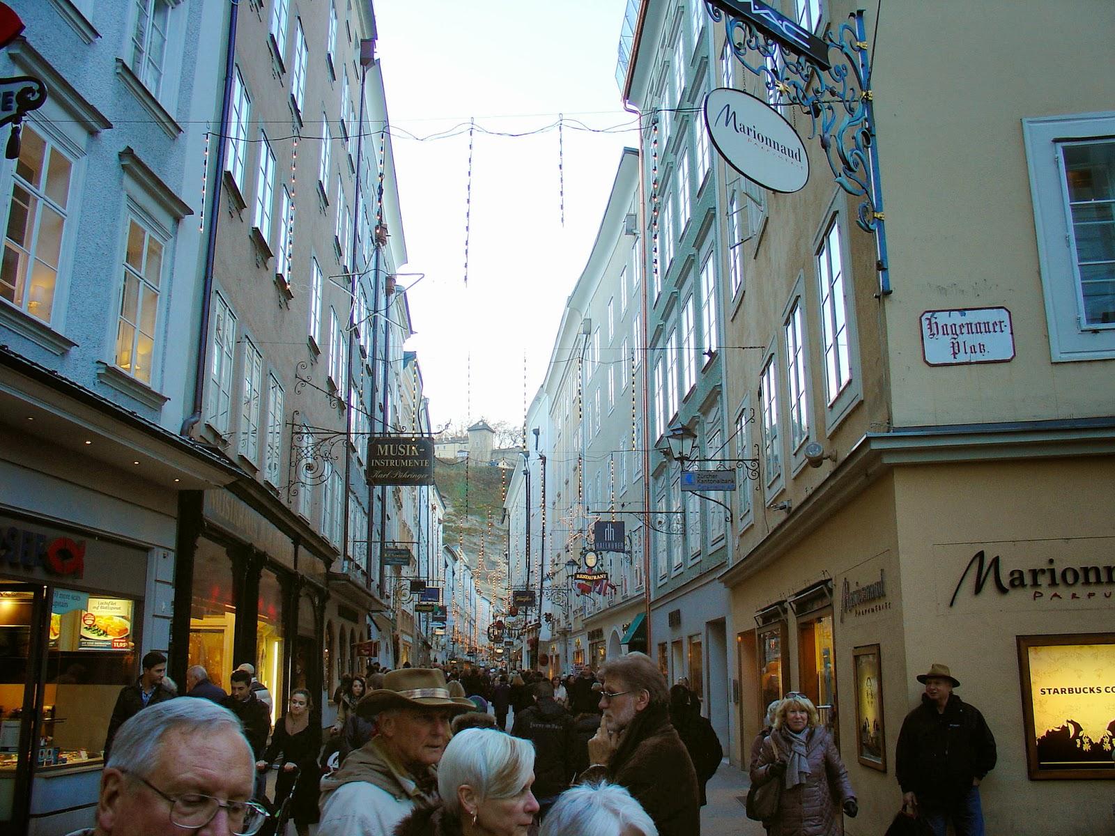 Salzburg's renowned shopping street of Getreidegasse.