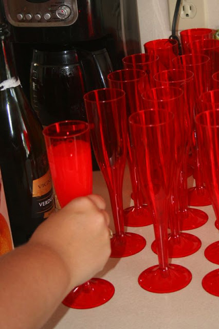 Mickey Mouse Bridal Shower - Red Champagne Flutes