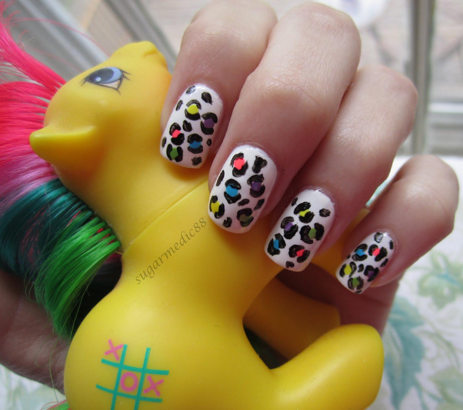 Bright Leopard Print Nails