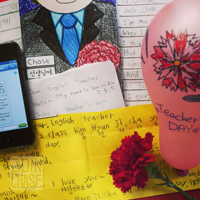 Letters, messages, and gifts from current and former students for Teachers' Day 2013 in South Korea.