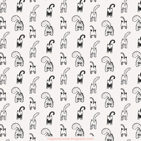 Happiness is... freelance illustration, graphic design & stationery - Cat Bum illustrated gift wrap