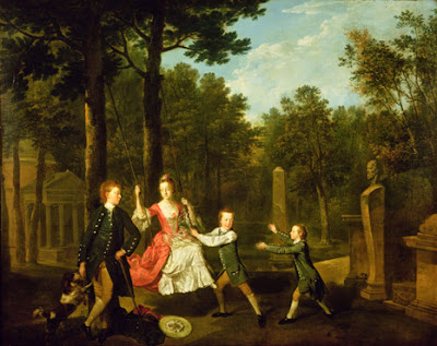 Portrait of the children of the 4th Duke of Devonshire in the gardens of Chiswick House, London by Johann Zoffany