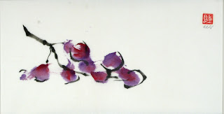 Who Creates Art? blog illustration of Sumi-e painting of purple flowers on branch