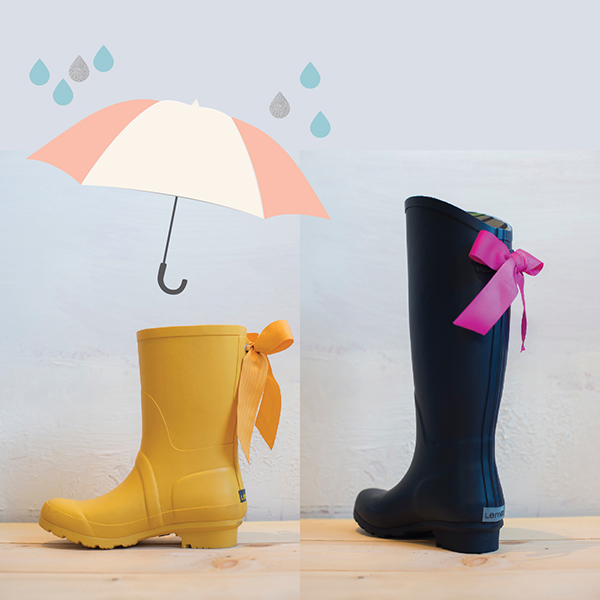 mai design shop, lemon collections rainboots, rainboots with bows, cute rainboots