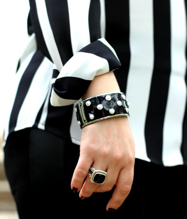 Black and Pearl Enamel Bracelet