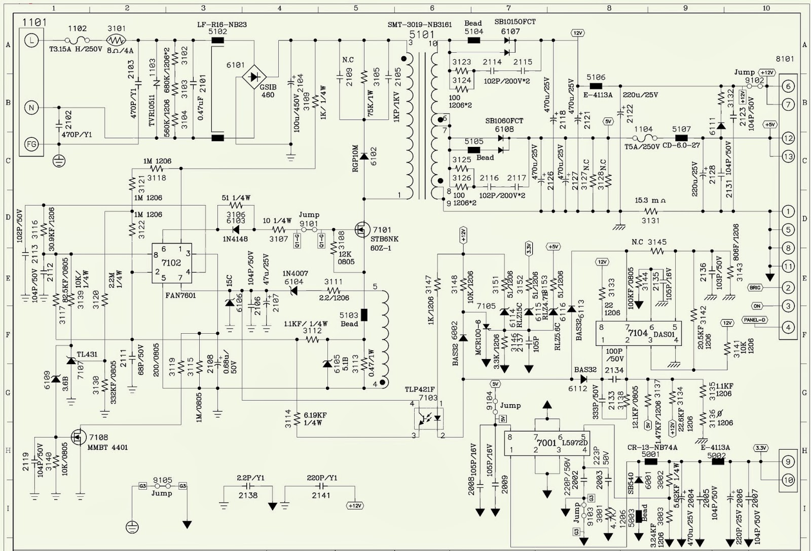 Hp And Philips L1730r - 17 Inch Lcd Color Monitor - Schematic - Power