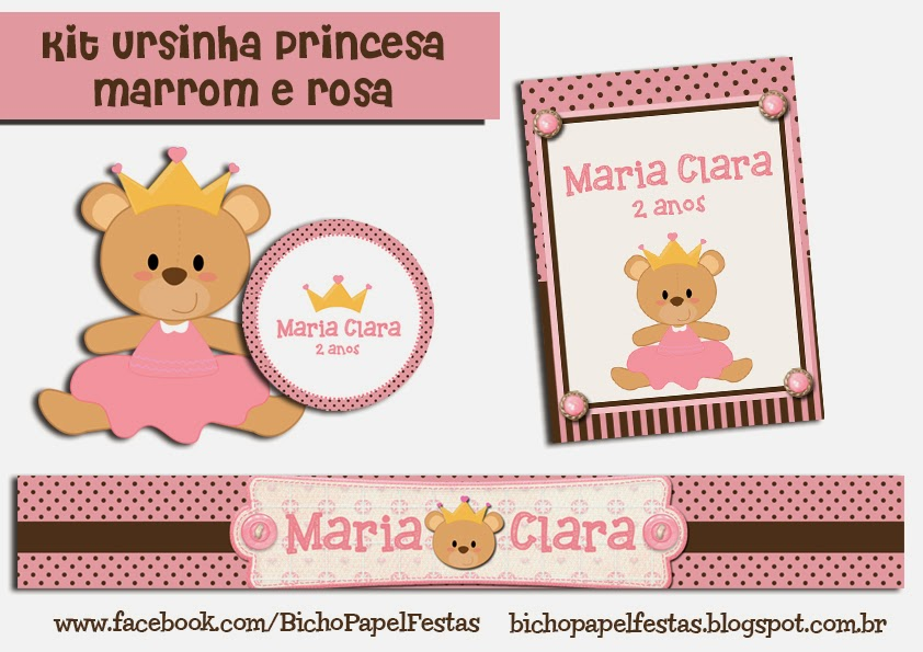 kit festa ursinha princesa marrom e rosa