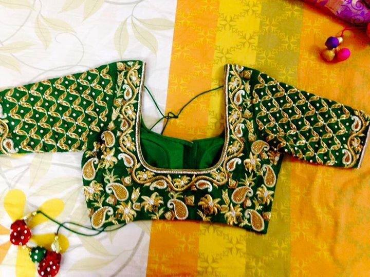 Sravya's Boutique: Green Color Blouse with Maggam work all over ...