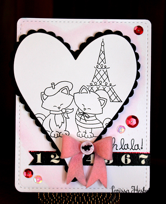 French Kitty Valentine Card by Larissa Heskett | Newton's Nook Designs | Newton Dreams of Paris Stamp Set