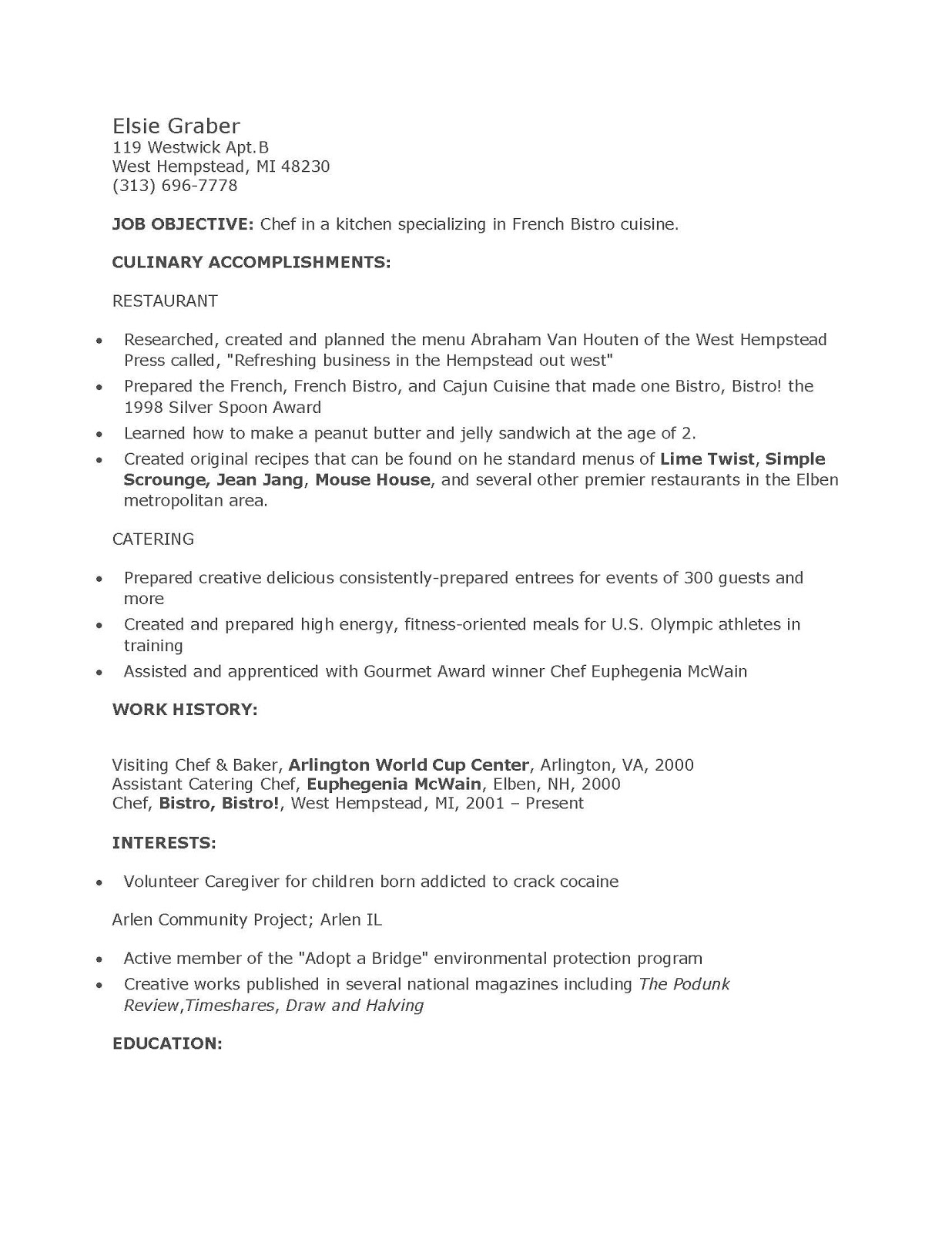 Chef Resumes Examples Executive Chef Resume Examples Chef Resume Culinary  Student Resume Template Culinary Art Resume