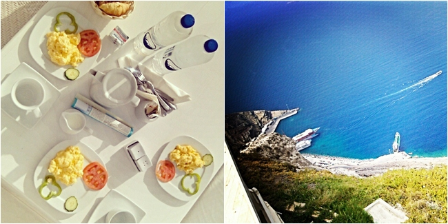 Santorini Instagram @lelazivanovic. Santorini's port. Aqua luxury suites, breakfast.