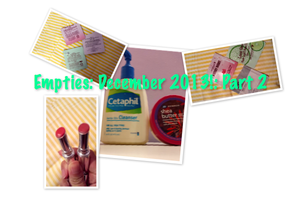 cetaphil cleanser, neutrogena moisture shine lip sheers. boots shea butter body butter, review and empties