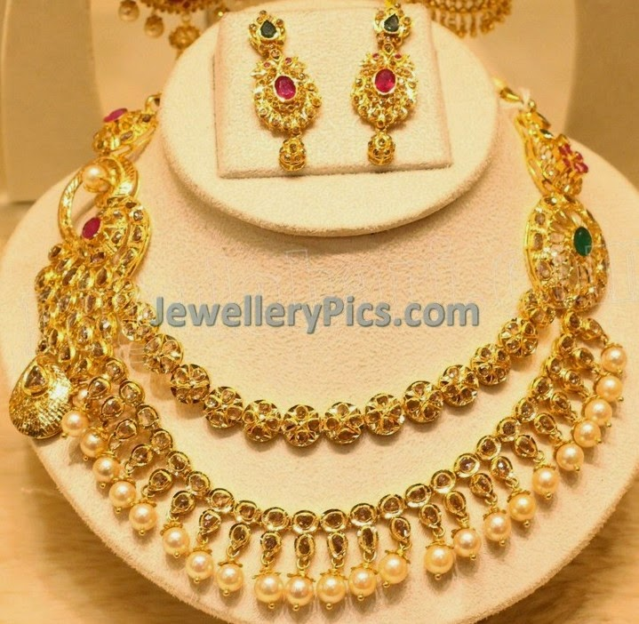 Unpolished diamond step necklace set