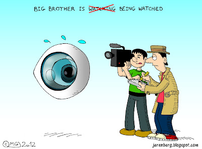 big brother is watching being watched reality show giant eye reporters journalists media holding pencil to notepad filming with news video camera