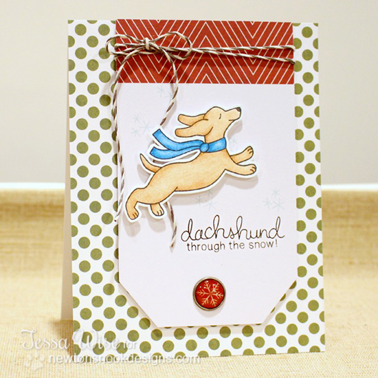 Dachshund through the Snow Card by Tessa Wise for Newton's Nook Designs - Holiday Hounds Dog Stamp set
