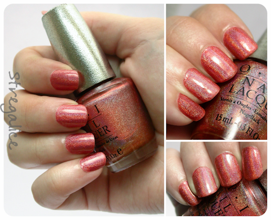 OPI DS Vintage holographic swatch coral