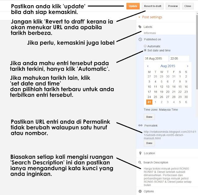 Panduan 'setting' untuk kemaskini entri lama - blogspot